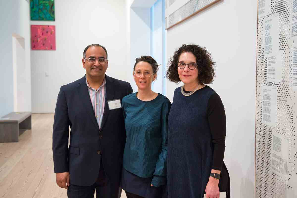 CalArts President Ravi Rajan with Laura Owens (School of Art, MFA 94) at a reception and private gallery tour of her exhibition at the Whitney Museum of American Art.