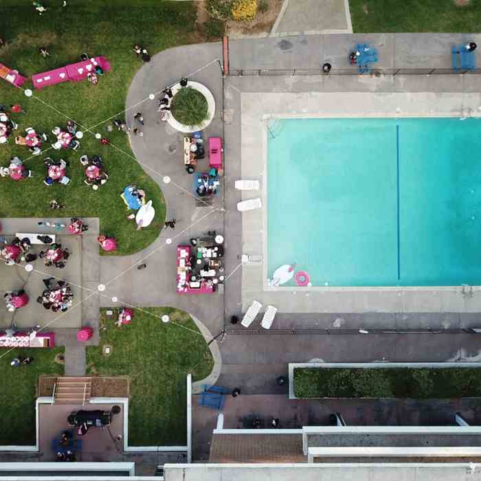 a bird's eye image of the campus pool, shot by drone
