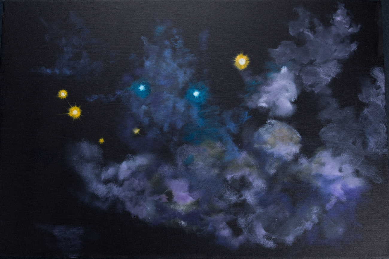Sandy Rodriguez. Tear Gas – Baltimore. 2015. Oil on canvas. 24 x 36 inches