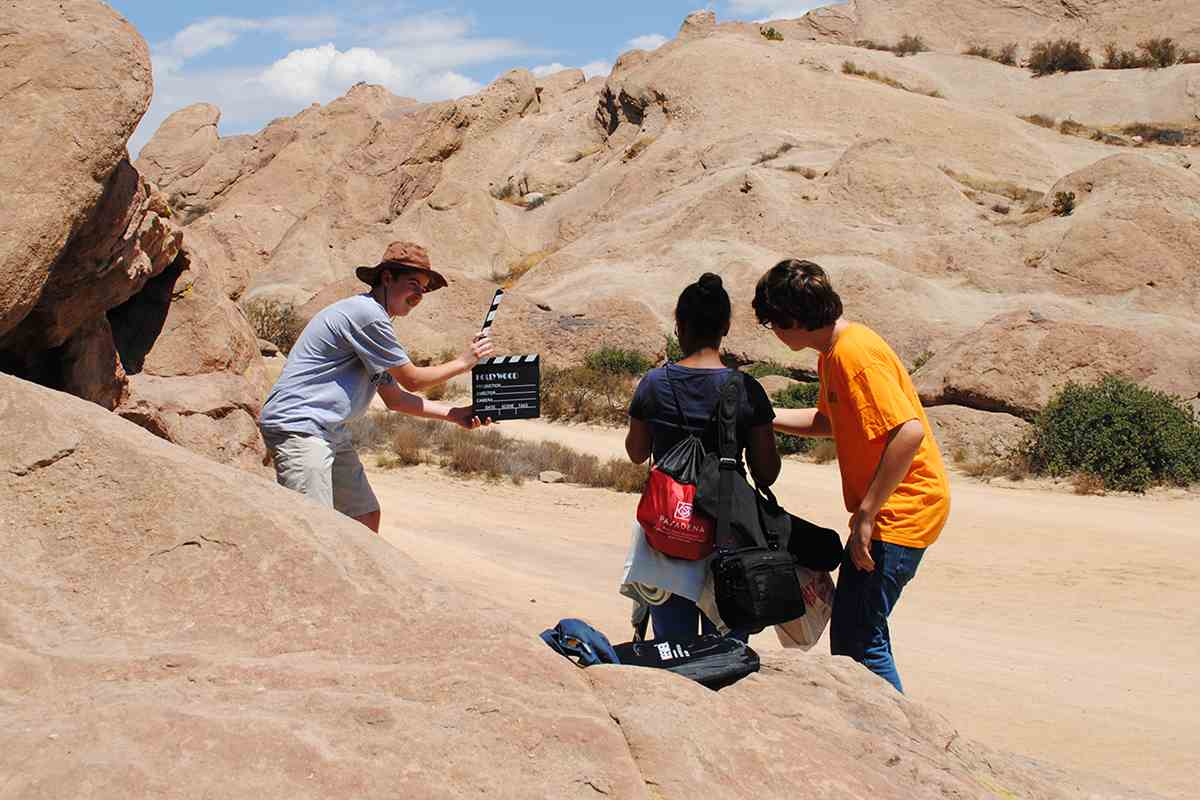 CAP students shooting at Vasquez Rocks, near Aqua Dulce, CA.