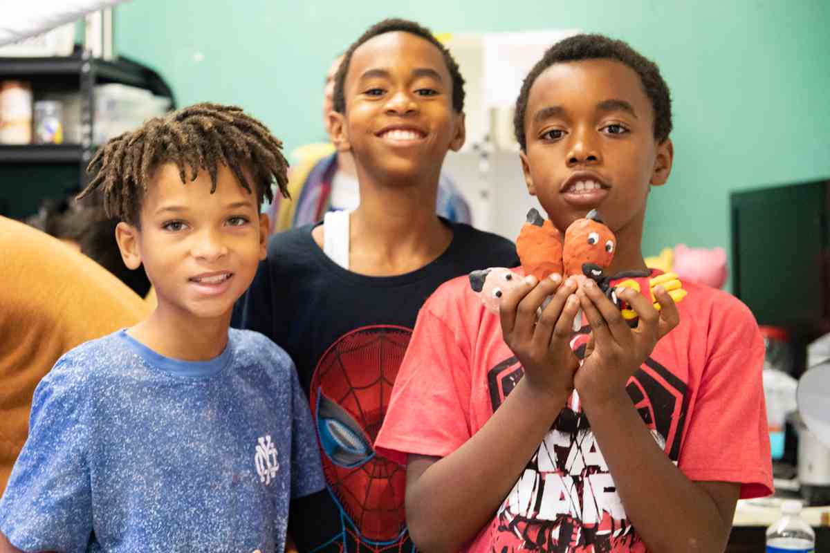 CAP youth participants create characters for claymation animation at the William Reagh Los Angeles Photography Center as part of the 5-site Sony Pictures Media Arts Program (SPMAP).