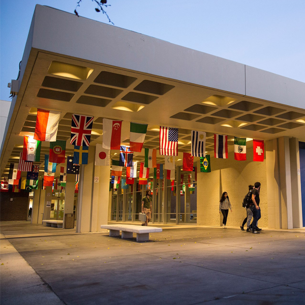 Image of the Country Flags Hanging from the Rafters of CalArts.