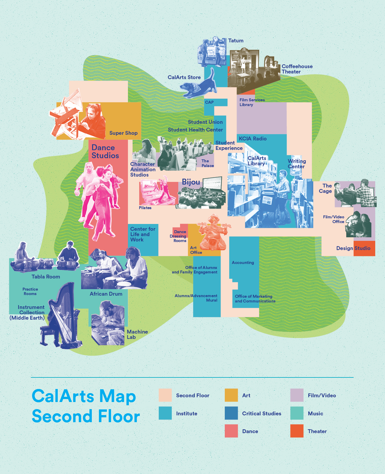 Map of the CalArts Second Floor